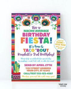 Nacho Average Birthday Fiesta Invitation, Birthday by Mail, Virtual Fi – Rainy Lain Designs Invitation App, Digital Invitations, Birthday Invitations, Birthday Celebration, 3rd Birthday, Printing Services, Online Printing, Love Tips, Fiesta Party