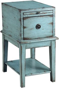 Blue Vintage Side Table. When you need a rustic look that's blue in color, this gorgeous piece will work perfectly for cottage, rustic or country decor #rusticdecor #bluedecor #endtables #afflnk #shopstyle