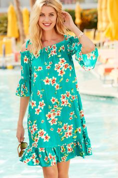 Floral Print Bardot Beach Dress Web exclusive - this style is only available online. Stylish and flattering, this bardot beach dress in soft viscose fabric features a pretty floral print. With tie shoulders and frill detail to cuffs and hem. SEE DETAILS. Dresses Uk, Casual Dresses, Fashion Dresses, Linen Dresses, Red Dress Uk, Inexpensive Prom Dresses, Floral Shirt Dress, Dot Dress, Bardot