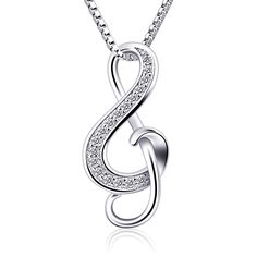 B.Catcher Silver Necklaces Music Note Pendant Necklace S925 Sterling Silver Women Jewellery ** Read more info by clicking the link on the image. #Necklaces