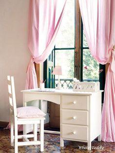 Gardinen & Vorhänge - Vorhang rosa mit Raffhalter 140 x 240 - ein Designerstück von WhiteTeddy bei DaWanda