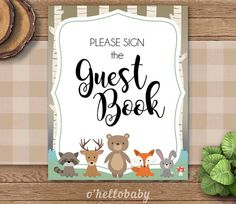 Woodland Animals Please Sign The Guest Book Sign by ohellobaby