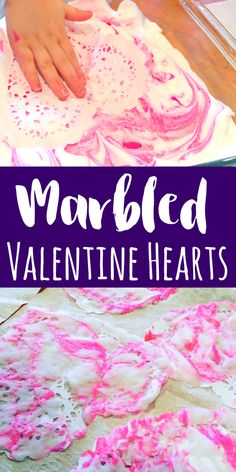 These marbled Valentine hearts are such a fun process art project for kids! Using shaving cream, paint and paper doilies, these are simple for all ages. (toddler arts and crafts valentines day) Kinder Valentines, Valentines Art, Valentines Day Activities, Valentine Hearts, Valentine Nails, Valentine Ideas, Valentine's Day Crafts For Kids, Valentine Crafts For Kids, Art For Kids