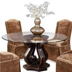 Dining  Tudor Pedestal Base Table with Round Glass Top by CMI