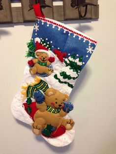 Finished 18 Bucilla Christmas Stocking by JillianBCreations Christmas Stocking Kits, Felt Christmas Stockings, Felt Stocking, Christmas Fabric, Babies First Christmas, Christmas Holidays, Christmas Crafts, Christmas Decorations, Felt Ornaments