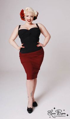 Dixiefried Clothing Perfect Pencil Skirt in Burgundy in Plus Sizes