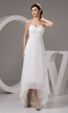 Simple A-line Sweetheart Asymmetrical Chiffon Wedding Dress With Beading for Older Bride Over 40,50,60