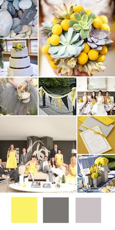 Yellow + Gray + Silver    Good for: A modern fall wedding.    Tips for pulling it off: Pair with clean lines, graphic prints, and industrial-style details to keep the look contemporary.