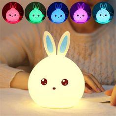 Cute Children Rabbit LED Night Light Baby Kids Multicolor Silicone Touch Sensor #CuteChildrenChina