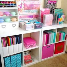 Kids room diy organization house ideas for 2019 Craft Room Storage, Office Organization, Organizing Ideas, Storage Ideas, Diy Storage, Bedroom Storage, Craft Rooms, Craft Room Shelves, Scrapbook Room Organization