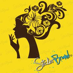 Vinyl Wall Art Decal Sticker Girl Flower Hair by Stickerbrand, $24.95