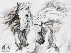 Reproductions giclées sur toile - giclée prints on canvas — Elise Genest Horse Drawings, Animal Drawings, Art Drawings, Painted Horses, Arte Equina, Horse Sketch, Horse Illustration, Horse Artwork, Horse Sculpture