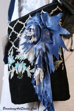 "One of a kind, handmade, ""Blue Crystal"" cross body bag by BroadwayArtStudio on Etsy"