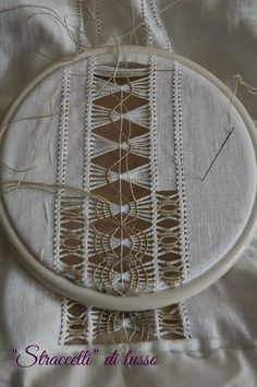 what beautiful drawn-thread needlework! Hardanger Embroidery, Hand Embroidery Stitches, White Embroidery, Embroidery Techniques, Ribbon Embroidery, Cross Stitch Embroidery, Embroidery Patterns, Machine Embroidery, Monks Cloth