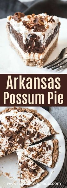 Arkansas Possum Pie is a creamy, layered chocolate and cream cheese pie in a pecan shortbread crust that is sure to please! Arkansas Possum Pie is a creamy, layered chocolate and cream cheese pie in a pecan shortbread crust that is sure to please! Pecan Desserts, Slow Cooker Desserts, No Bake Desserts, Easy Desserts, Southern Desserts, Pecan Recipes, Pecan Pies, Easy Delicious Desserts, Simple Dessert Recipes