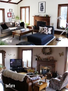 Family Room. This rural home family room needed some major de-cluttering. This room was never used by the family. Now it is the first room everyone goes to. Family room renovation Now and Before.... before and after photos of family room  By DIFY Design
