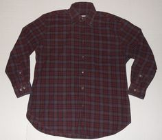 BRIONI Men's Plaid Button Front Shirt M MEDIUM Long Sleeve Made in Italy  #Brioni #ButtonFront