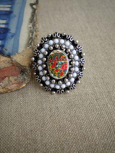 Portugal Viana Folklore Scarf  Ring    European size 18 by Atrio. , via Etsy.