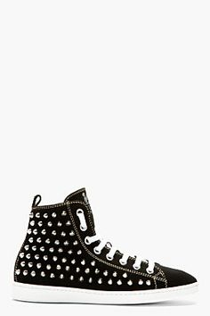 Dsquared2 Black Canvas Spike Stud High-top Sneakers for men | SSENSE