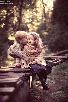 First kiss #children #photography #little #family #photo #bows #fashion #style