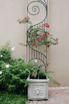 Turn your wall into a feature with an ornate trellis and a climber - a great idea for small spaces. Outdoor Garden Decor, Outdoor Ideas, House And Home Magazine, Trellis, Small Spaces, Garden Ideas, Garden Walls, Home And Garden, Outdoor Structures
