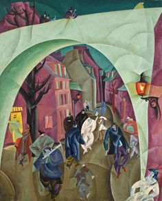 Lyonel Feininger (1871–1956), The Green Bridge II (Grüne Brücke II), 1916. Oil on canvas, 49 3/8 × 39 1/2 in. (125.4 × 100.3 cm). North Carolina Museum of Art, Raleigh; gift of Mrs. Ferdinand Möller © Lyonel Feininger Family, LLC./Artists Rights Society (ARS), New York
