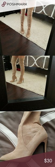 Nude over knee boots Never worn but has a light scuff plz see photos price reflects defect. Comes with extra heel tabs. so me Shoes Over the Knee Boots