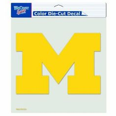 "NCAA Michigan Wolverines 8-by-8 Inch Diecut Colored Decal by WinCraft. $6.33. Made in USA. Removable and durable. Perfect for the #1 fan. Looks great on vehicles, doors, or windows. Easy installation. Officially licensed decal. These decals are thermal cut and can be placed on a variety of surfaces, not just a window, with their self-adhesive back. Actual decal size varies depending on shape of logo that fits into a 8"" square.  Made in USA."