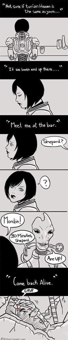 Stupid five second secret cutscene Mass Effect - FemShep/Garrus & Mordin - Promises by ~JPShieux Mass Effect Comic, Mass Effect Funny, Mass Effect Art, Mass Effect Universe, Commander Shepard, Fiction, Fandoms, Shall We Date, Fan Art