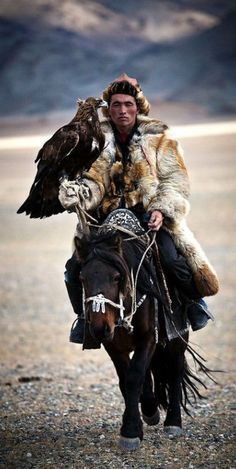 A mongolian hunter on a riding horse armed with a Golden Eagle., from Iryna
