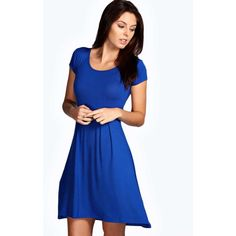 Boohoo Basics Claudia Jersey Cap Sleeve Skater Dress ($16) ❤ liked on Polyvore featuring dresses, cobalt, round neck dress, blue jersey dress, blue jersey, viscose dress and cap sleeve short dress