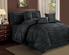 Graceful Piece Cal King Ruffled Comforter Set Black with nightstand