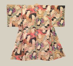 "Silk Juban, Taisho (1912-1926). A silk woman's undergarment featuring an unusual and rare silk-screened pattern of Noh mask faces.  50"" from sleeve-end to sleeve-end x 46"" height.  The Kimono Gallery"