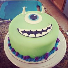 Monsters inc Mike wazowski cake decorations by KellysCookieDesigns