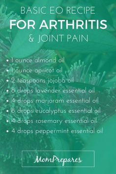Essential Oils For Arthritis: 5 Science-Backed Recipes To Fight Inflammation And Pain Essential oils are a natural and effective way to deal with symptoms of arthritis, such as pain and swelling. Read on for specific, science-based recipes. Marjoram Essential Oil, Essential Oils For Pain, Essential Oil Uses, Doterra Essential Oils, Young Living Essential Oils, Essential Oils Arthritis, Essential Oils For Inflammation, Cough Remedies For Adults, Arthritis Symptoms
