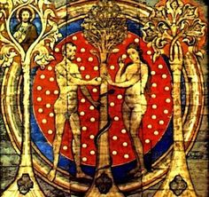Tree of Life: Painted wooden ceiling with brass bosses, St. Michael's Church, Hildesheim Germany 1192 AD Adam & Eve, Trees and Serpent with Amanita muscaria cap background, note that Adam & Eve are each holding a button stage Amanita muscaria. Tempera, Hildesheimer Dom, Fruit Défendu, Origin Of Christianity, Adam Et Eve, Illustrations Vintage, Michael Church, Forbidden Fruit, This Is A Book