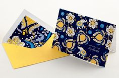 From Vera Bradley, thank-yous in the Ellie Blue design are presented on textured paper with coordinating hand-lined envelopes.