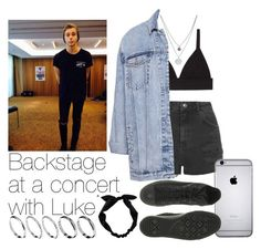 """""""Backstage At A Concert With Luke"""" by the4dipshits ❤ liked on Polyvore featuring Kenneth Cole, Topshop, T By Alexander Wang, Pull&Bear, Converse, ASOS, RyuRyu, women's clothing, women's fashion and women"""