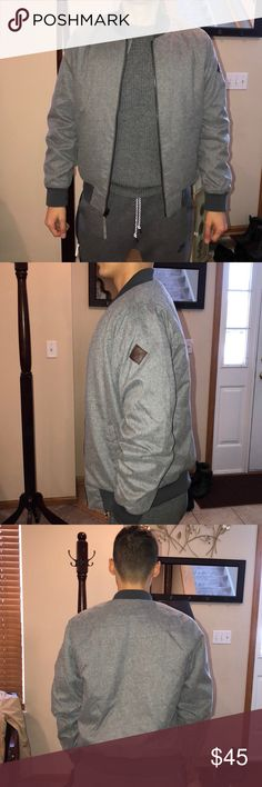 Hollister bomber jacket Men size small! Gray bomber jacket, hollister, great condition! Hollister Jackets & Coats Bomber & Varsity