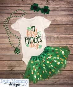 16 Different Designs! - First St Patrick's Day Embroidered Onesie TShirt or Dress St Patrick's Day Toddler Baby Girl St Patty's Day by DuitMommyDesigns on Etsy