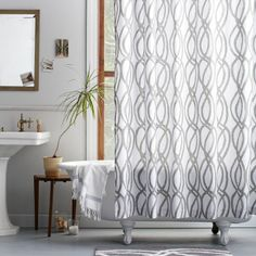 Gray Bathroom- shower curtain. Update: I bought this for my bathroom and it looks great!