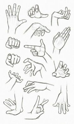 different hand gestures, how to draw anime girl, black and white, pencil sketch