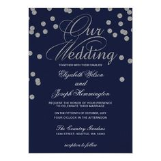 Shop FAUX Glitter confetti navy and silver wedding Invitation created by blessedwedding. Navy And Silver Wedding Invitations, Blue Silver Weddings, Glitter Confetti, Wedding Confetti, Sparkle Wedding, Glitter Wedding