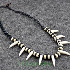 id/ée cadeau Collier unisexe lion femme dentelle noire dragon dent de loup homme d/éfense