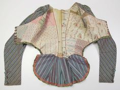 "Late 18thc. #French #silk jacket w/ charming ""patchwork"" interior. Perfect inspiration for a Sunday perambulation in spring! Grace-filled day, kind readers. Metropolitan Museum, Accession Number: 2010.151 2010.151_F2.JPG 1,419×1,074 pixels"