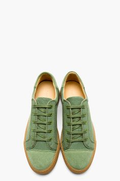CARVEN Green Canvas & Suede Low Top Sneakers