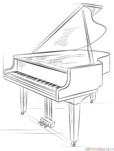 How to draw a grand piano step by step. Drawing tutorials for kids and beginners.