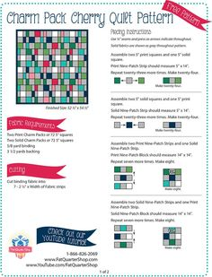 Charm Pack Cherry Quilt - it's a sliced block Beginner Quilt Patterns Free, Easy Quilt Patterns, Quilting For Beginners, Quilting Tutorials, Quilting Ideas, Charm Pack Quilt Patterns, Charm Pack Quilts, Fat Quarter Quilt, Fat Quarter Shop