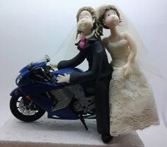 Customized Cake topper #Wedding couple in Motorbike made by Cristina Sierras   Wedding Cake topper. This is an example of a custom made Wedding Cake topper that I create... #wedding #bride #groom #marroriage #marriage