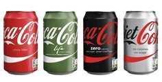 """Photo: a lineup of four """"One brand"""" Coke bottles"""